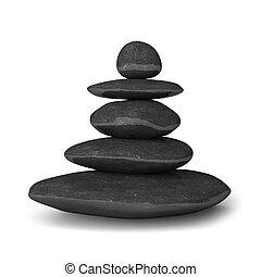 石, バランス, 概念, 禅