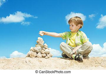 石, ピラミッド, 最後, 完了しなさい, 部分, パッティング, 子供