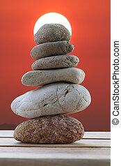 石, ピラミッド, 積み重ねられた, バックグラウンド。, 日没, バランス