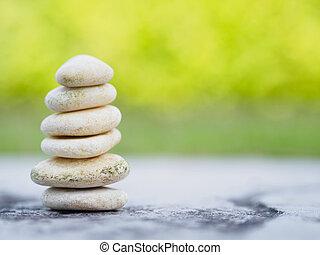 石, ピラミッド, 積み重ねられた, 背景, 自由, 考え, 安定性, 概念, デザイン, rocks., エステ, 緑, バランス, 柔らかい, ∥あるいは∥