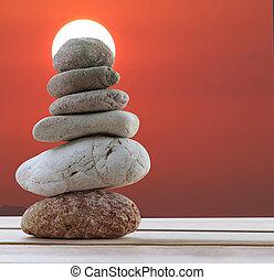 石, ピラミッド, 積み重ねられた, 背景, space., 日没, 持ちなさい, バランス, コピー