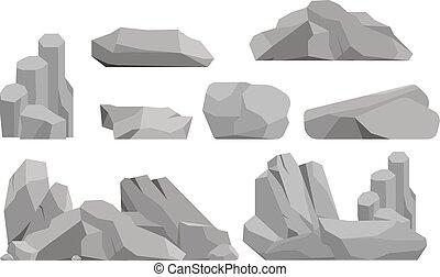 石, ベクトル, イラスト, 岩