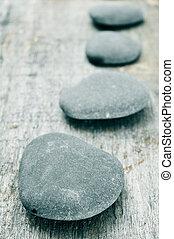 石, 上に, ∥, 古い, 木製である, 表面