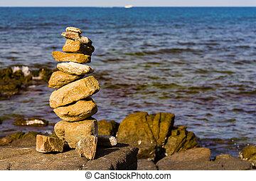 石, 上に, 積み重ねられた, 海岸線, 海洋