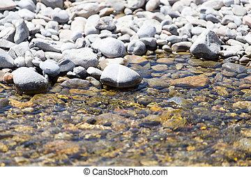石, 中に, 水, 自然