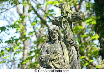 石, 古い, キリスト, 墓地, 非常に, 像, 墓