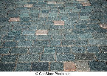 石, 古い, 玉石, 道, 舗装された