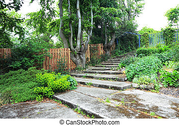 石, 古い, 階段, 庭, 美しい