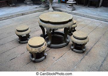 石, 古代, 中国語, 椅子, スタイル, 作られた, テーブル