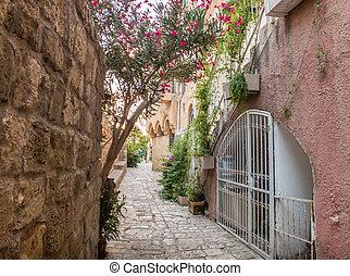 石, 古代, 古い, jaffa, イスラエル, 通り