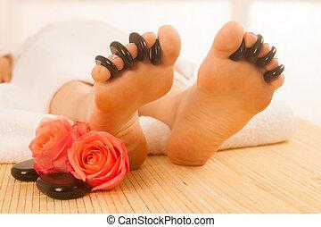 石, 女, isolated., 暑い, feet., 受け取ること, マッサージ