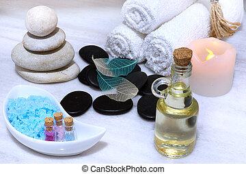 石, 安全である, プロシージャ, 電気である, オイル, 塩, そこに, 芳香がする, マッサージ, 準備, candle., タオル, 大理石, エステ, 白, 柔らかい, 回転する, テーブル