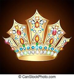 石, 宝石類, 金, 国王の王冠, イラスト, とても, 光沢がある