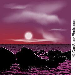 石, 屋外, 背景, 海, 夜, の間