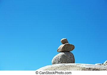 石, 山, 積み重ねられた, 背景, 空