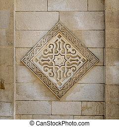 石, 広場, 古い, 壁, パターン, al, カイロ, エジプト, hakim, 刻まれた, 外面, 花, ユニット, モスク