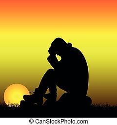 石, 彼の, シルエット, モデル, 頭, 日の出, の後ろ, 保有物, 悲しい, 人