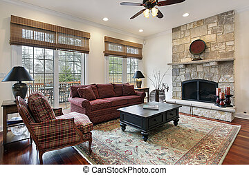 石, 暖炉, 部屋, 家族