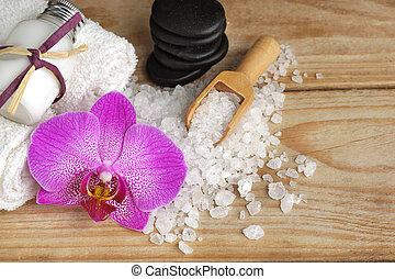 石, 木製である, 浴室, 暑い, テーブル, 次に, 塩, マッサージ, 蘭