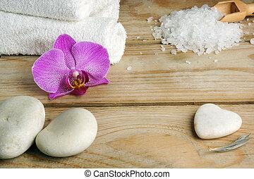 石, 木製である, 浴室, 暑い, 塩, 白, タオル, テーブル。, マッサージ