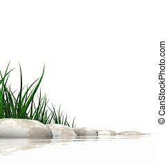 石, 水は 研ぐ, 草, &