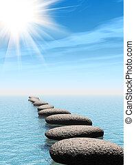 石, 水, 太陽, 横列, 梁
