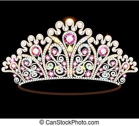 石, 王冠, イラスト, とても, きらめく, ティアラ, 女性