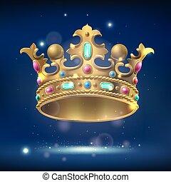 石, 現実的, とても, 王冠, 金