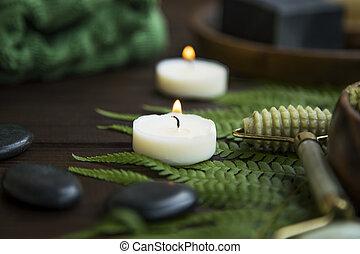石, 生活, 蝋燭, エステ, まだ, マッサージ