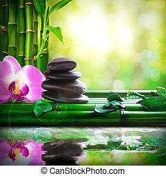 石, 積み重ねられた, リラックスしなさい, 反映された, 水, 竹, マッサージ