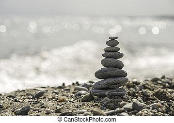 石, 積み重ねられた, 海