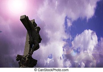 石, 空, 交差点, 曇り