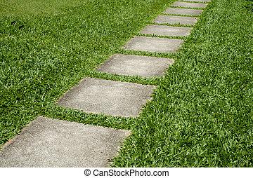 石, 緑, grass., 方法