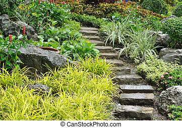 石, 自然, 庭, 美化, 家, 階段
