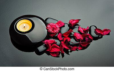 石, 花弁, バックグラウンド。, 黒, ろうそく, エステ, 赤