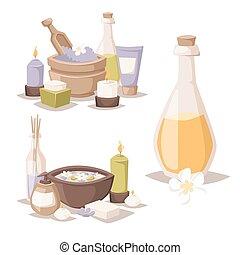 石, 花, illustration., 美しさ, アイコン, ロータス, wellness, spa-massage...