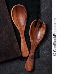 石, 道具, 木製である, 型, 上に, 布, 黒, バックグラウンド。, テーブル, ビュー。, 上, 台所