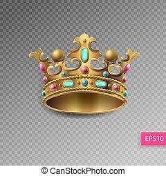 石, 金, 国王の王冠, 多彩, とても