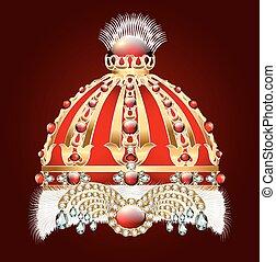 石, 金, 装飾, 王冠, とても, 皇族