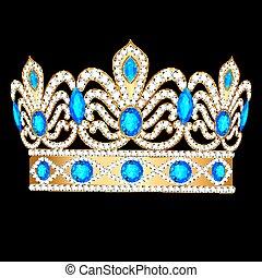石, 金, 装飾, 王冠, イラスト, とても, 皇族