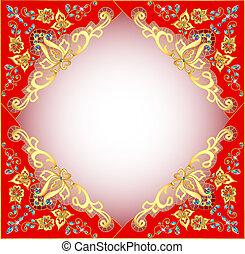 石, 金, 装飾, 背景, とても, 赤