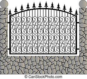 石, 鉄, フェンス