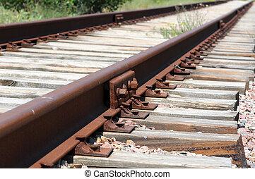 石, 鉄, 上に, 柵, 細部, 暗い, 錆ついた, 列車, 方法, 鉄道