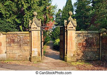 石, 門, 先導, 古い, 庭, 美しい