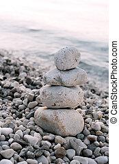 石, 青い背景, 上に, 山, 海, 小石