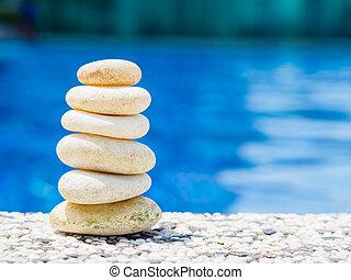 石, 青, ピラミッド, 積み重ねられた, 水, 背景, バランス, 柔らかい