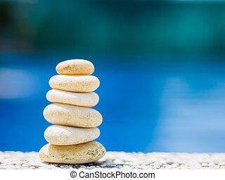 石, 青, ピラミッド, 積み重ねられた, 背景, 自由, 水, 考え, 安定性, 概念, デザイン, rocks., エステ, バランス, 柔らかい, ∥あるいは∥