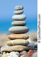 石, 青, 上に, 空, 海