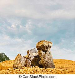石, 青, 砂, 空, に対して