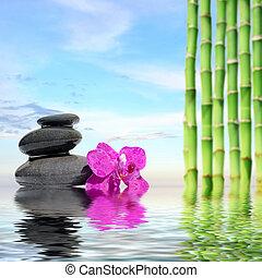 石, background-zen, 概念, 禅, 反映された, 水, エステ, 竹, マッサージ